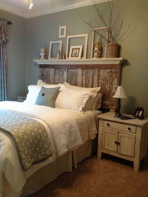 master bedroom 90 year old door headboard