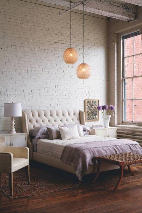 master bedroom exposed brick