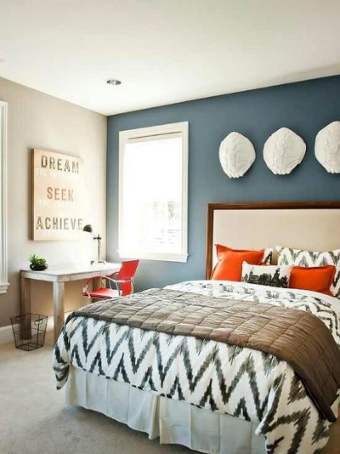 master bedroom orange accents