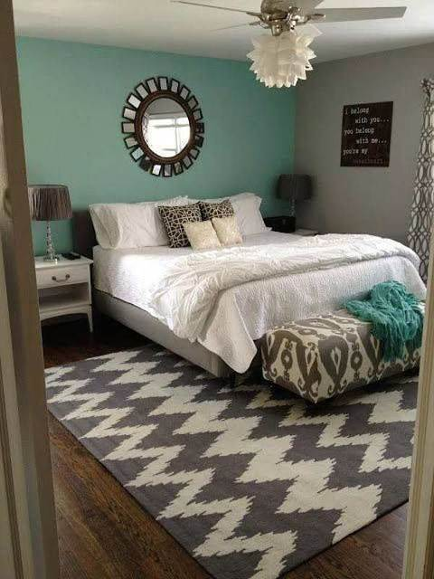 master bedroom turquoise wall
