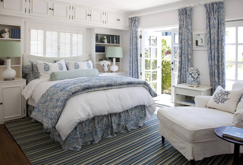 master bedroom white with print