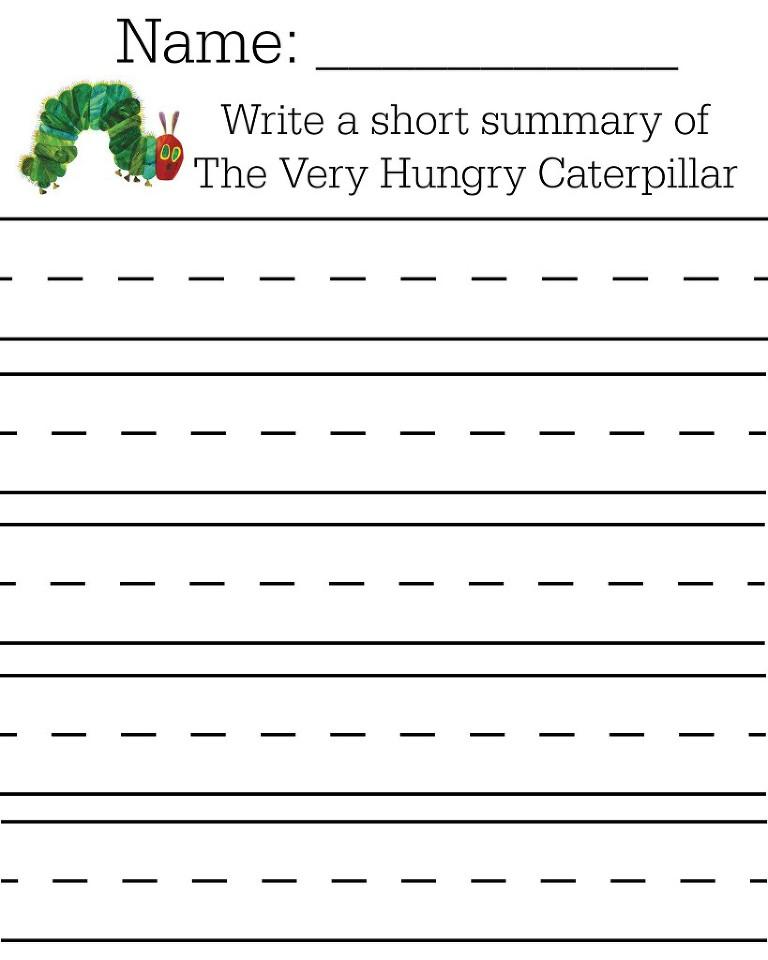 Free caterpillar summary writing page printable