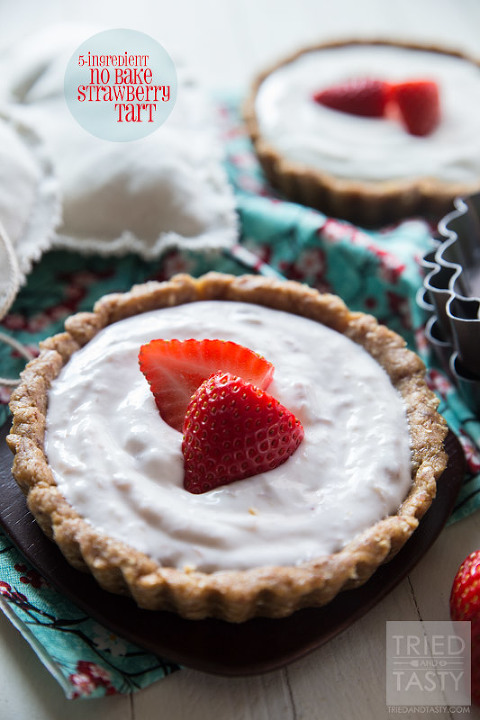 5-ingredient-no-bake-strawberry-tart-Tried and Tasty