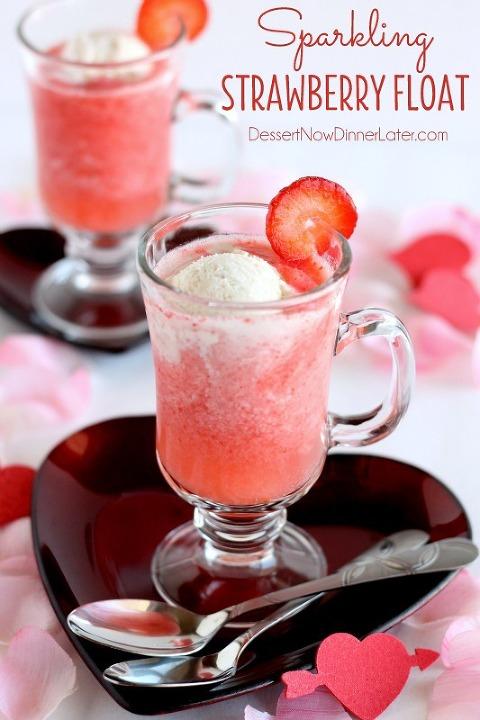 Sparkling Strawberry Floats Dessert Now Dinner Later