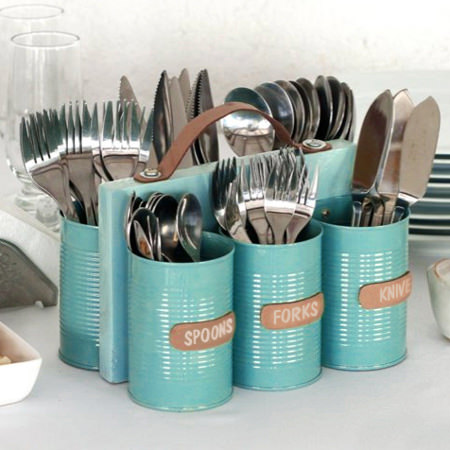 recycled can cutlery holder