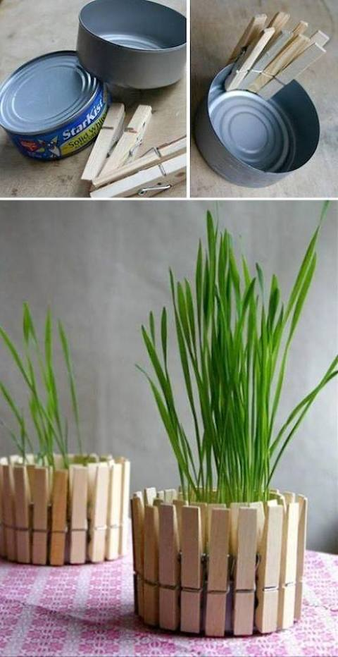 recycled can planter