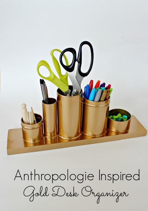 recycled gold desk organizer