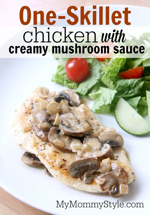 one-skillet chicken with creamy mushroom sauce