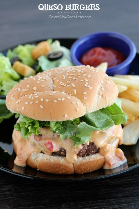 49 mexican recipes Queso-Burger1