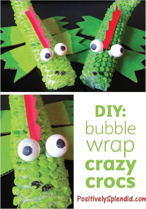 Bubble wrap art of green crocs.