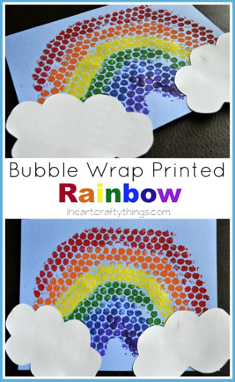 Bubble Wrap Art of a rainbow with white clouds.