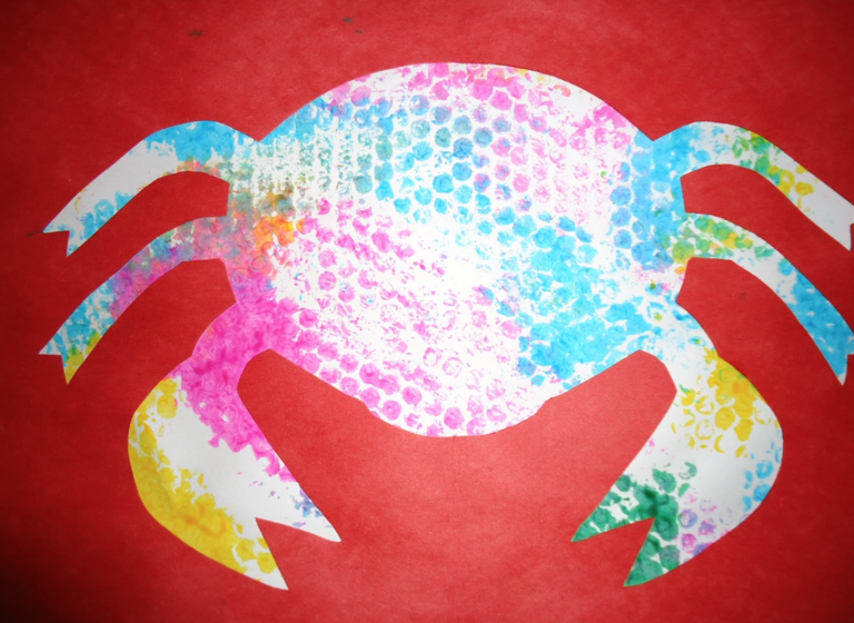 Bubble Wrap Art of a colorful crab.