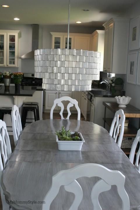 west elm, kitchen lighting, kitchen, my mommy style, chandelier, zig zag, grey kitchen table