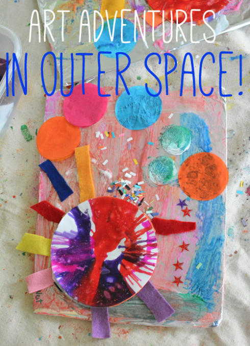 23 creative art projects for kids using hands my mommy style for Outer space project