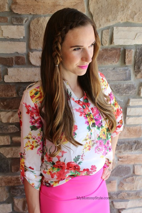 Ruby Claire Boutique, My Mommy Style, French Braid, floral blouse
