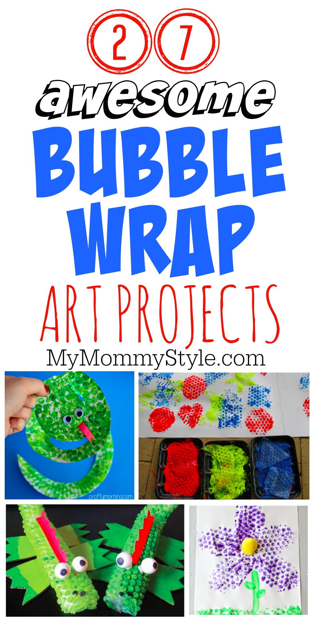 Kids can't resist the fun of bubble wrap and crafting. Take a look at these twenty seven bubble wrap art ideas we put together for you. via @mymommystyle