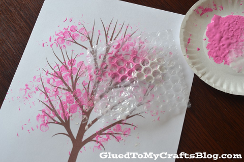 Bubble wrap art of a pink cherry blossom tree.