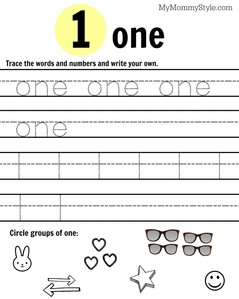 Free Printable Number Worksheets 19 My Mommy Style – Number 1 Worksheet