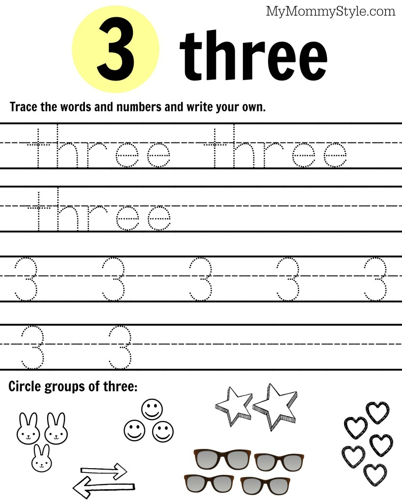 Free Printable Number Worksheets 19 My Mommy Style – Number 3 Worksheets