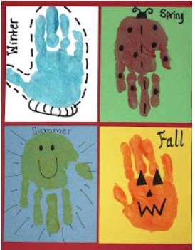 Hand Print paint seasons activities
