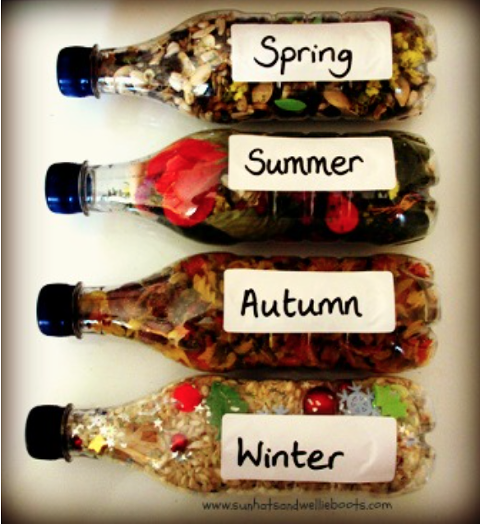 Seasons filled water bottles