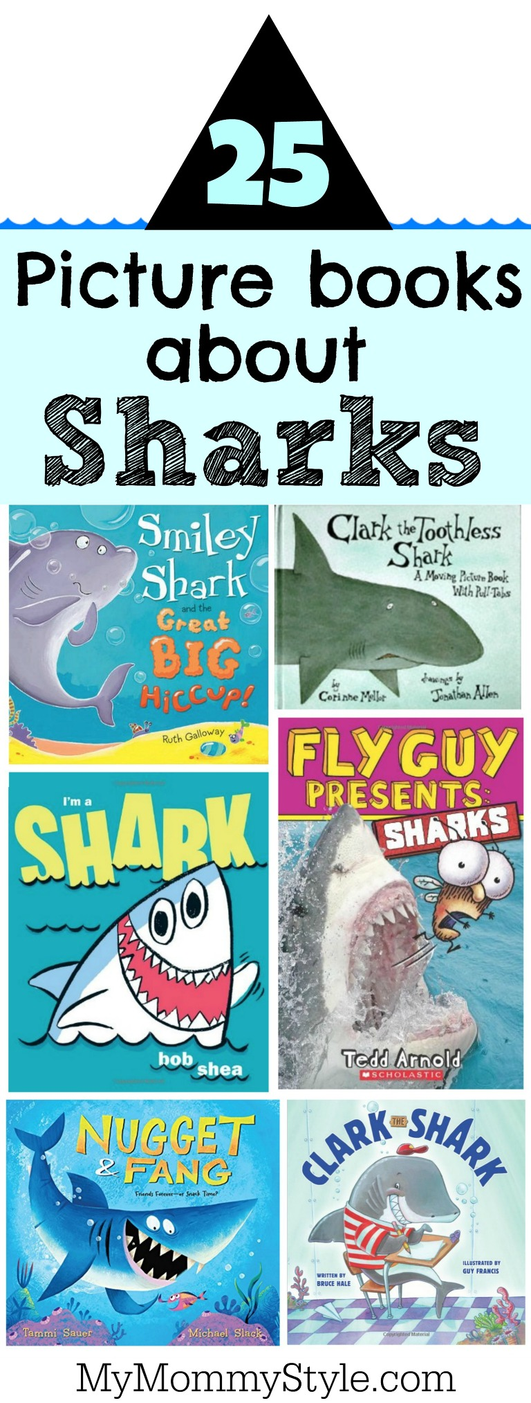 25 picture books about sharks collage.