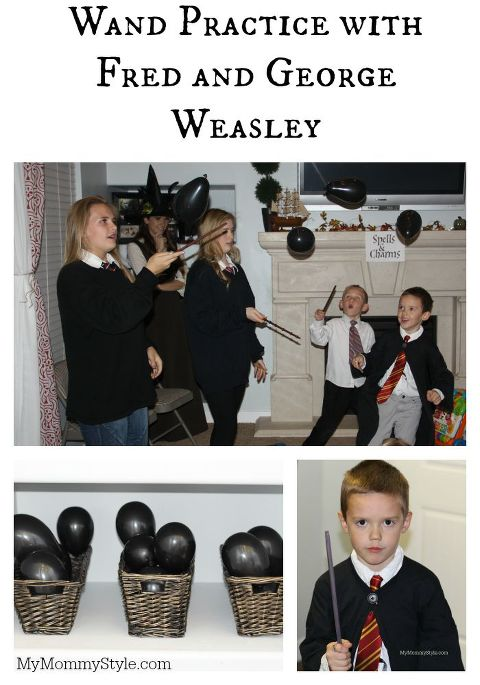 Wand Practice with Fred and George Weasley, , harry potter, harry potter party, my mommy style