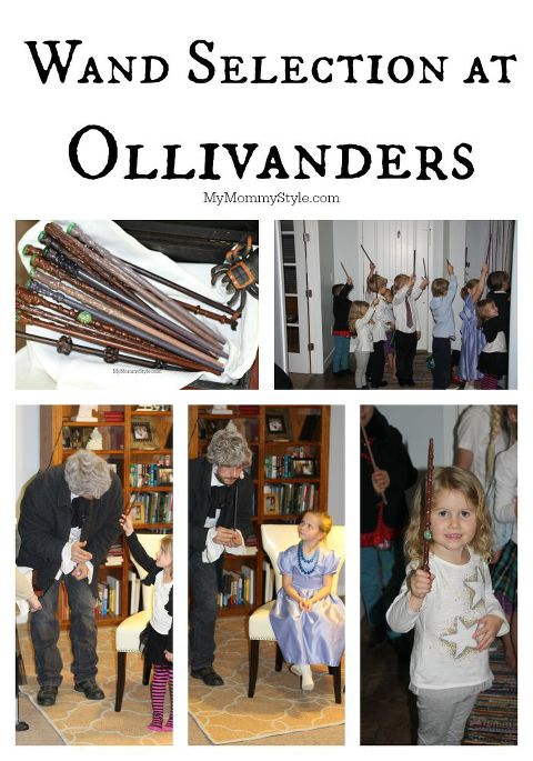 wand selection at Ollivanders, My Mommy Style, Harry Potter Party, Harry Potter