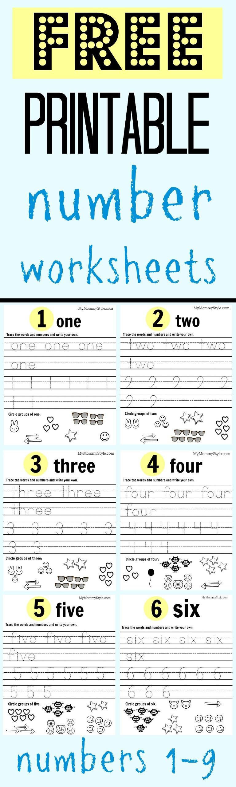 Free printable number worksheets, numbers 1-9 for preschool