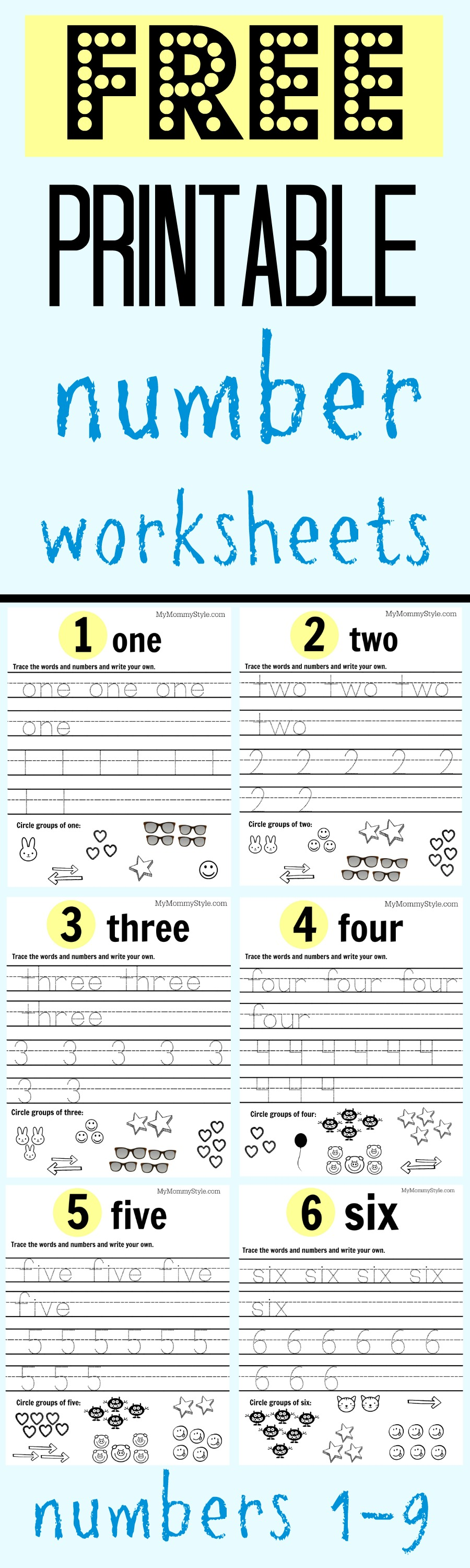 Free Printable Toddler Numbers
