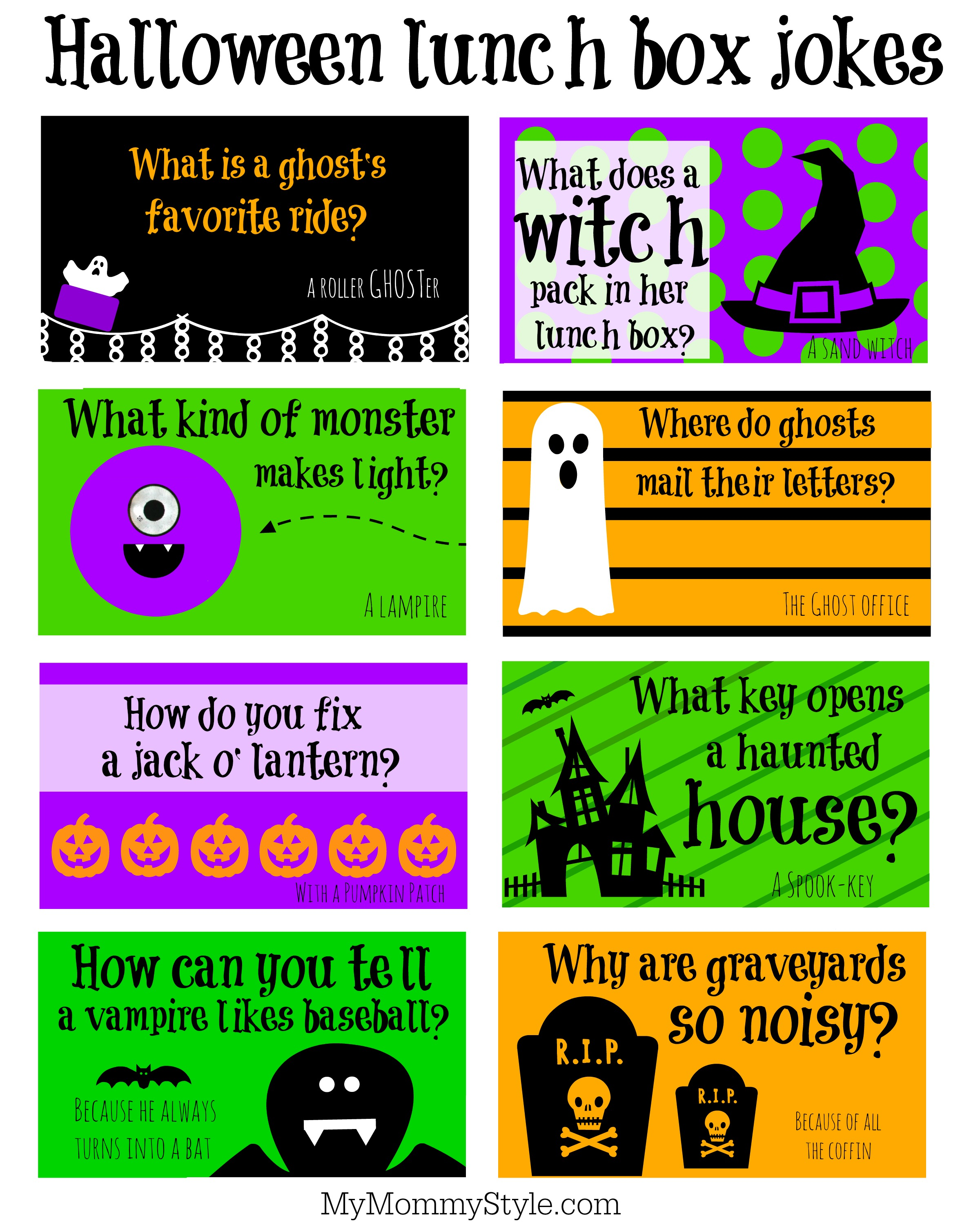 photo regarding Lunch Box Jokes Printable titled Halloween Lunchbox jokes - My Mommy Structure