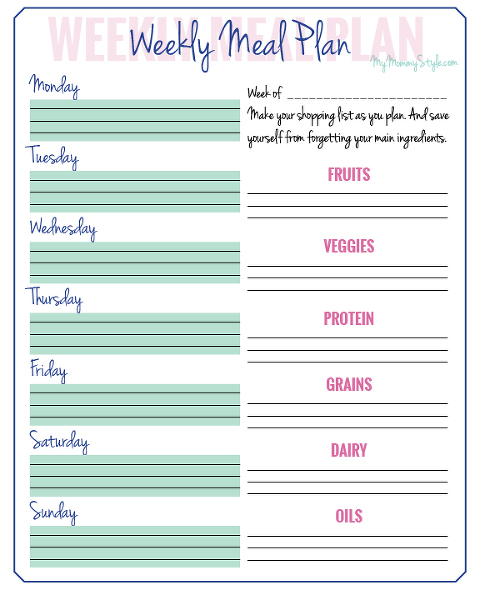 Food Group Menu Planning