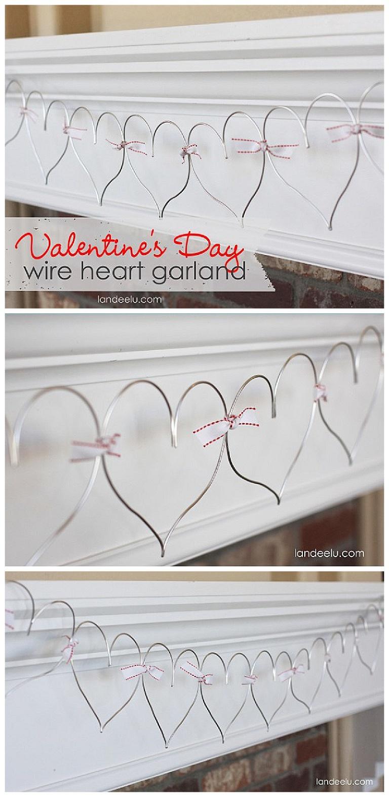 wire heart garland