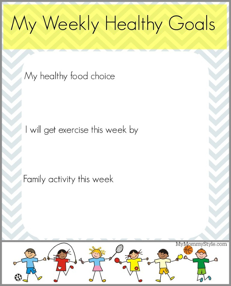My weekly healthy goals, my mommy style, healthy printables for kids, goals
