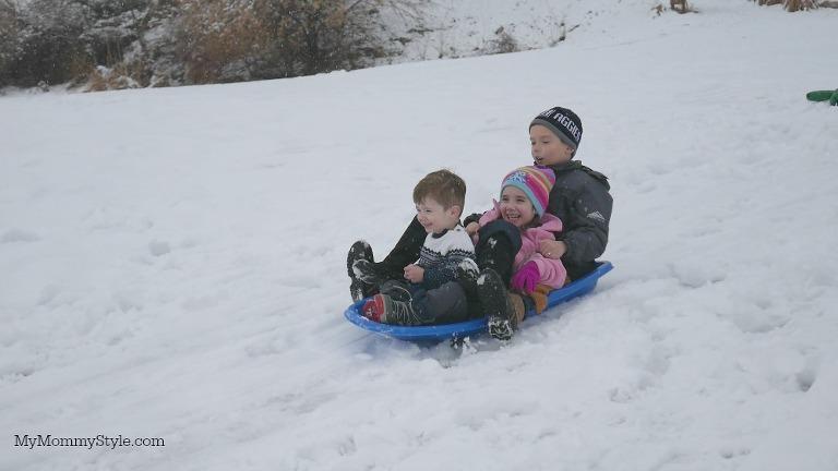 Fun in the snow, sledding