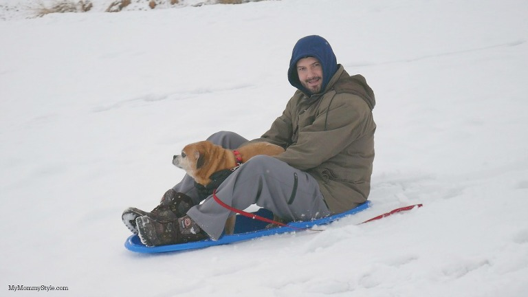 Sledding with a dog, action shot, lumix, mymommystyle
