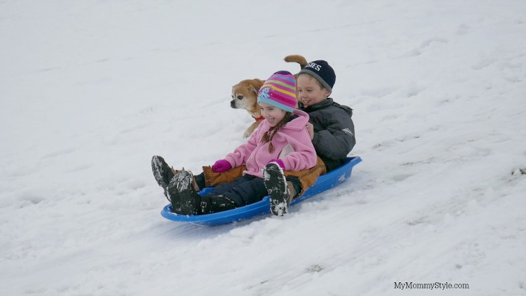 sledding fun, play with kids, lumix, action camera