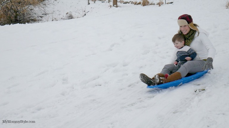 sledding, mother and baby, lumix, action shot