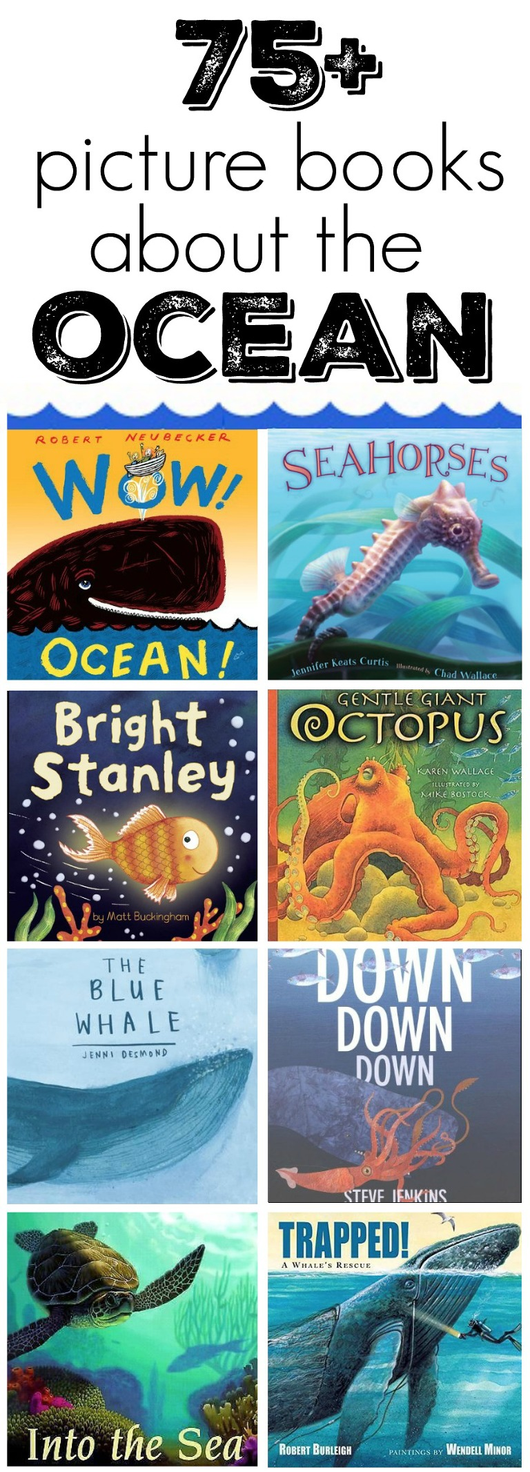 picture books about creatures that live under the sea. Picture books about fish, whales, sharks and more. Fun books to read during under the sea theme