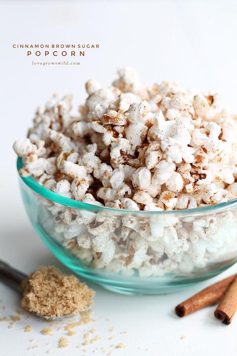 Bowl of Cinnamon Brown Sugar Sweet and Salty Popcorn