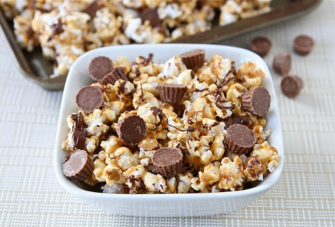 bowl of Reeses peanut butter sweet and salty popcorn