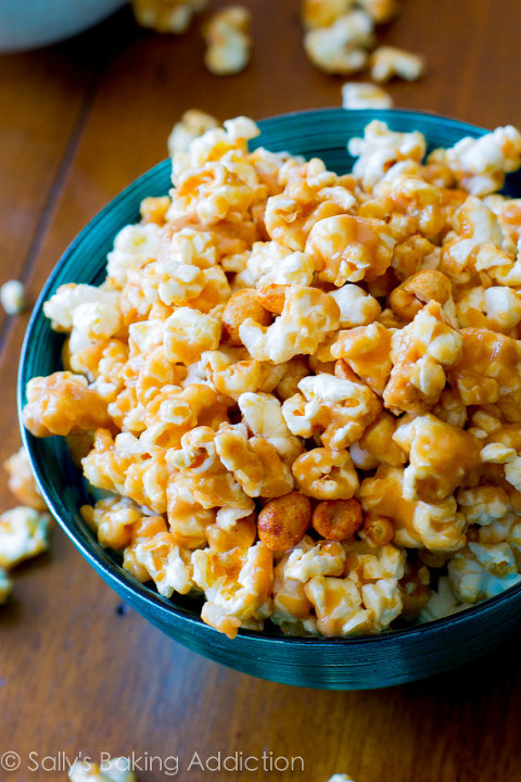 Bowl of peanut butter caramel sweet and salty popcorn