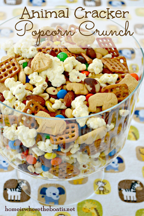 Bowl of animal cracker sweet and salty popcorn crunch