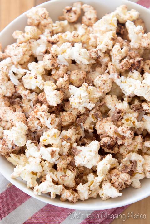 bowl of chocolate coconut sweet popcorn