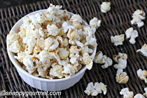 bowl of salted butterscotch sweet and salty popcorn