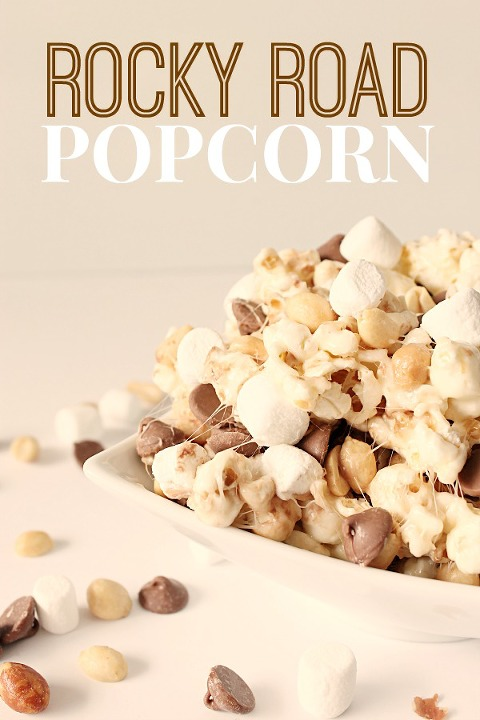 Bowl of rocky road sett and salty popcorn