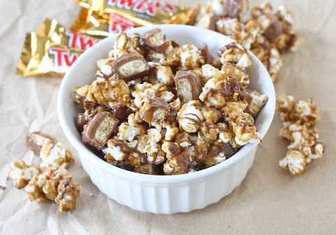 bowl of twix caramel sweet and salty popcorn