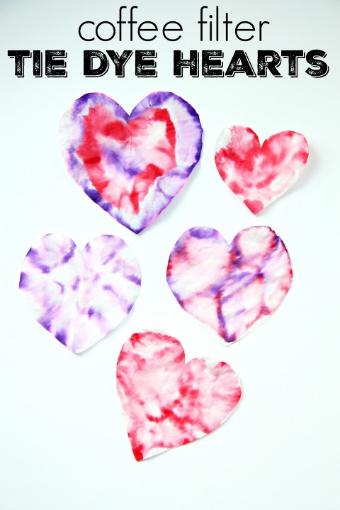 Coffee filter tie dye hearts for valentine's day