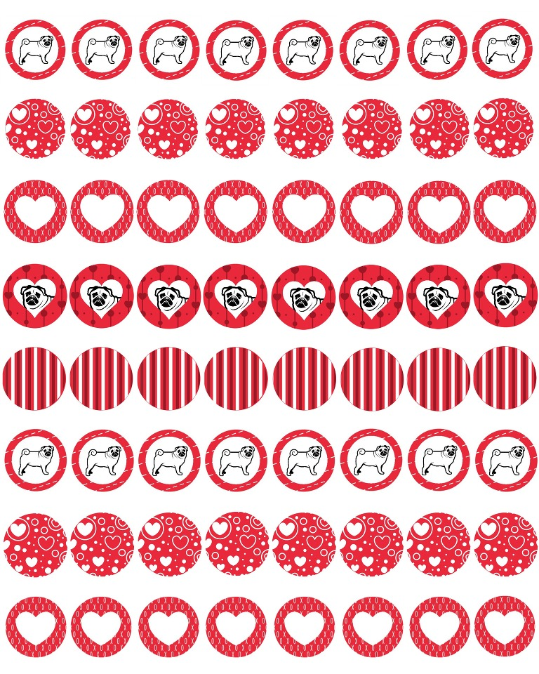 Pugs and kisses Valentine for hershey kisses