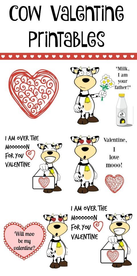 cow valentine printables, cow valentine, free printables, cow, Valentines Day